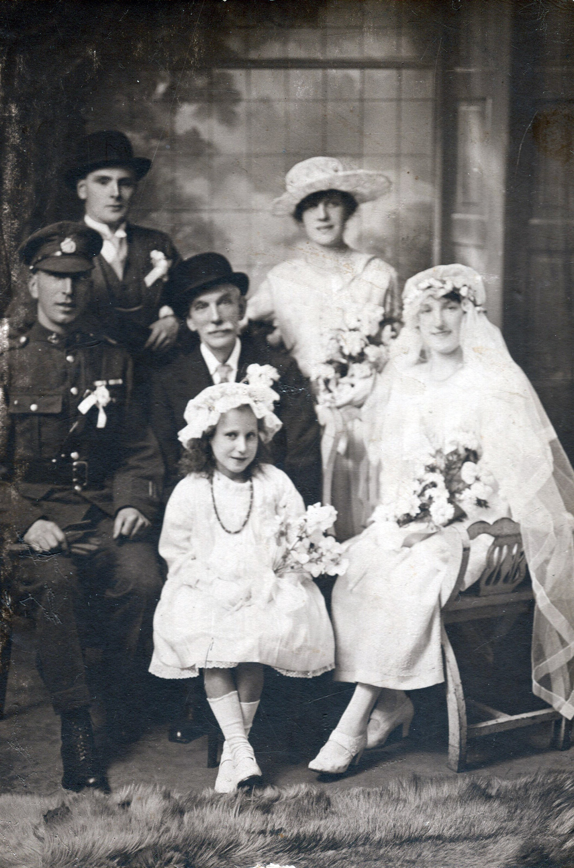 Studio Portrait Bride And Groom With Family 1919
