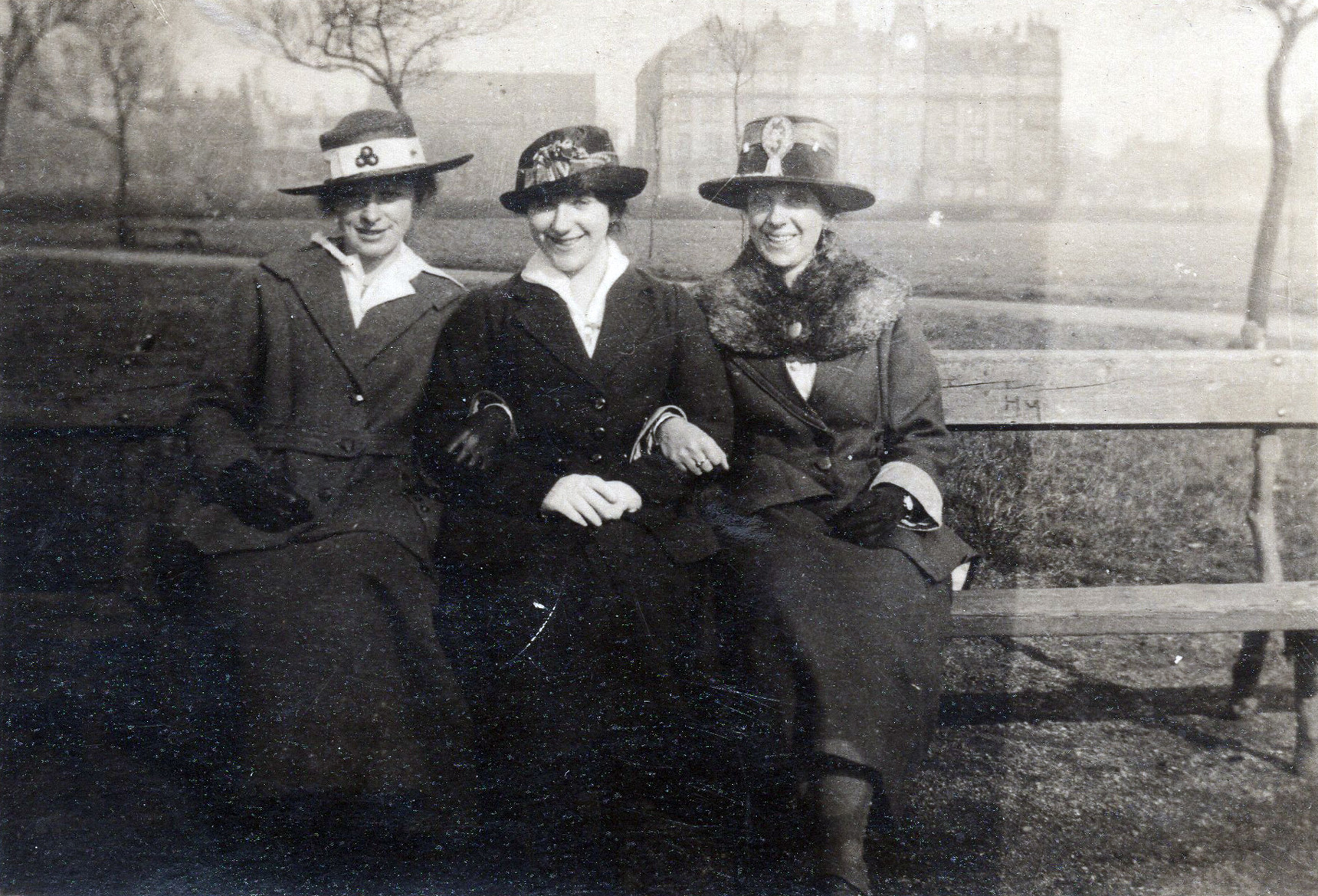Three Sisters Sitting On Bench In Park c.1918