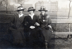 Three Sisters Sitting On Bench In Park c.1920