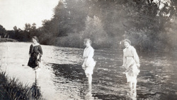 Three Sisters Paddling In A River c.1920