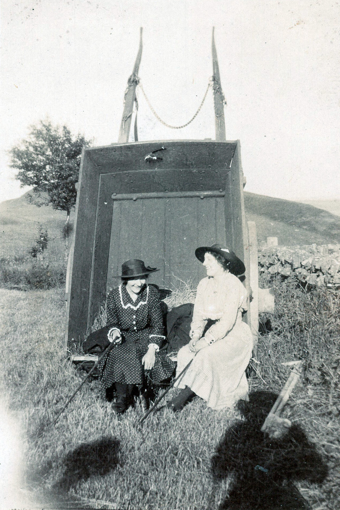 Two Women Out For Walk Sitting In Upturned Cart c.1920