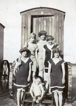 Women And Young Boy On Steps Of Bathing Machine 1910s