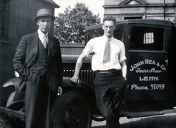 Father And Son Of Timber Business Standing By Cabin Of Their Lorry c.1947
