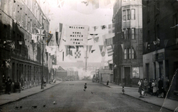 Wartime Bunting Welcoming Local Lads Home On Graham Street 1940s
