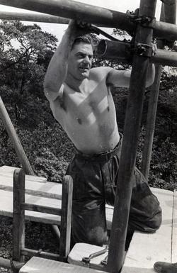 Soldier Constructing Make-Shift Bridge 1940s