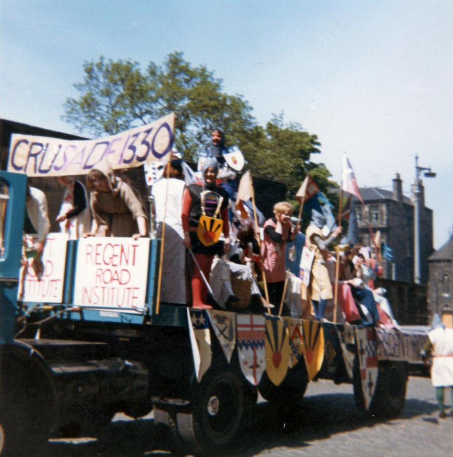 Participants On Leith Pageant Float Preparing For Procession At The Regent Road Institute c.1968