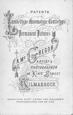 Photographer's Advertising On Reverse Of Photograph 1870s