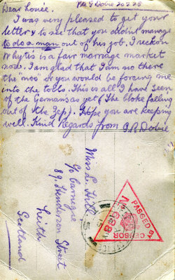 Postcard Sent From Soldier At Front To Woman In Leith 1915