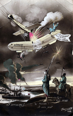 First World War Postcard Allied Airplane Attacks German Zeppelin c.1915