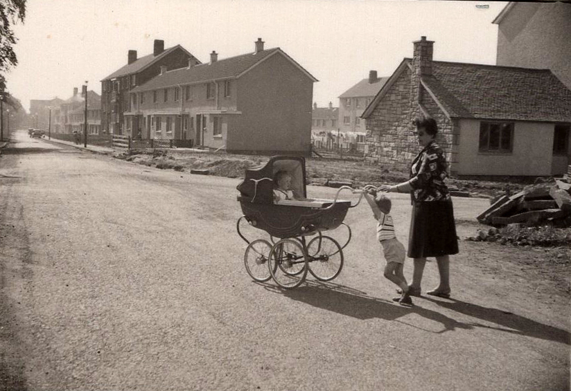 Mother With Children Pushing Pram At New Council Housing At Drumbrae 1962