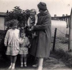 Woman With Children In Back Garden At Pennywell Road c.1959