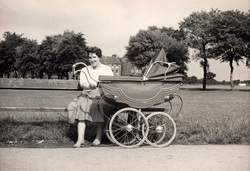 Mother Sitting On Bench With Pram At Leith Links c.1960