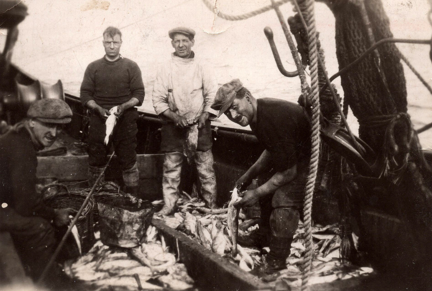 Fishermen With Their Catch On Board Boat At Newhaven Harbour 1937