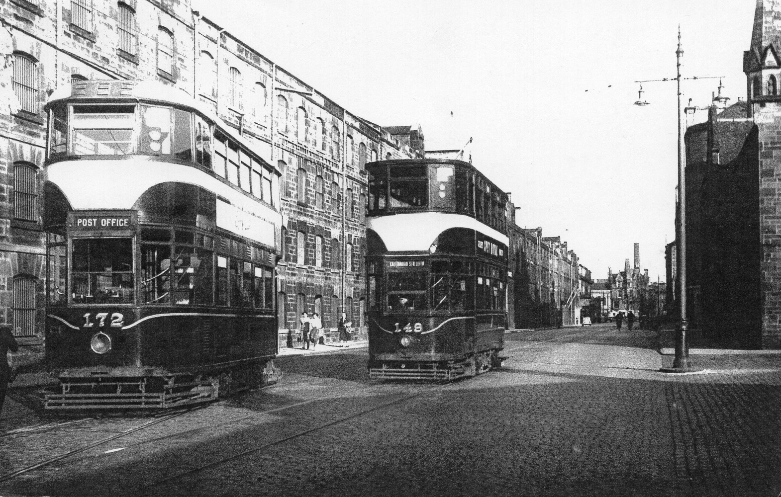 Trams On Commercial Street 1956