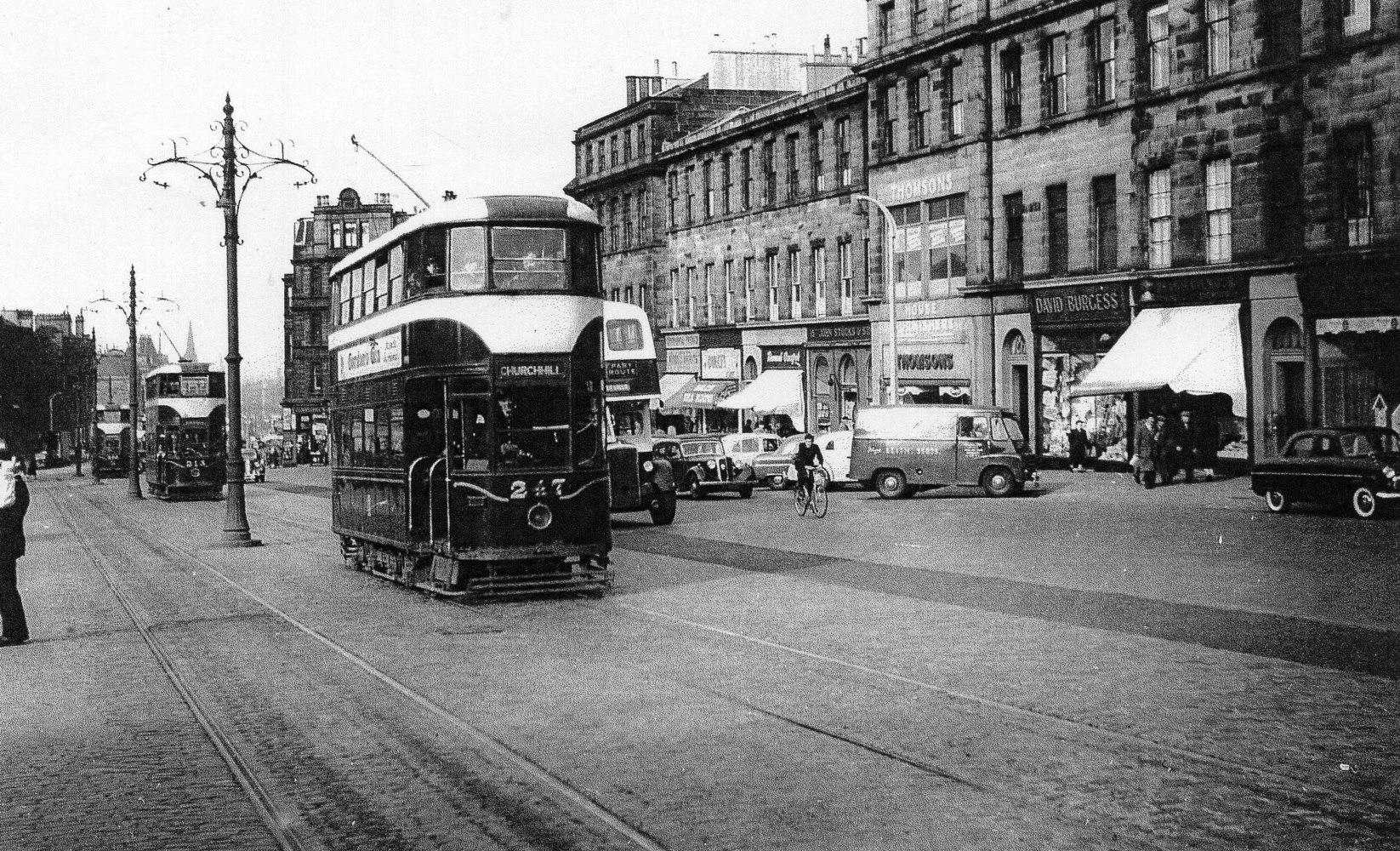 Trams At Elm Row 1956