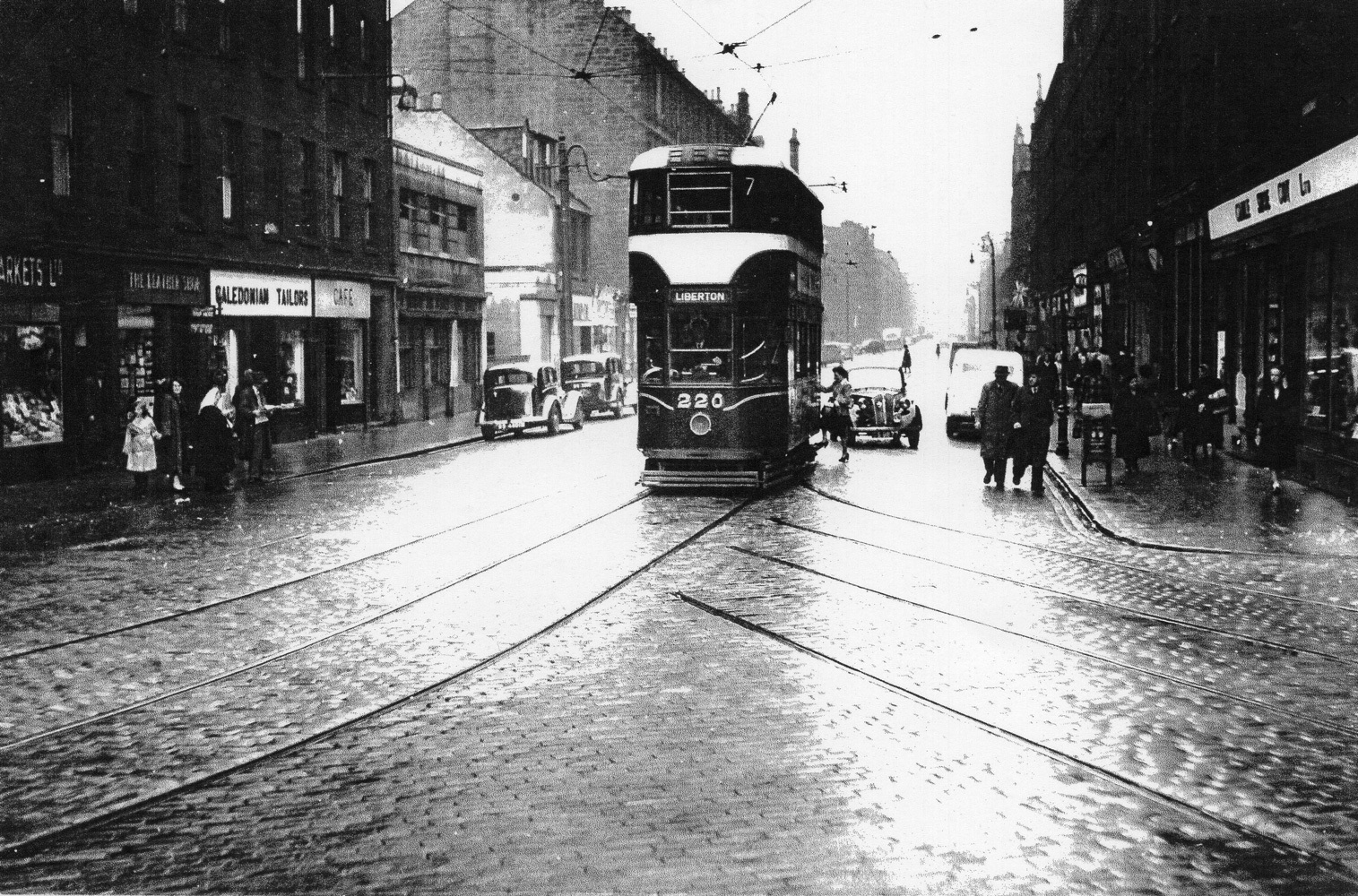 Tram On Great Junction Street At Junction With Kirkgate 1956