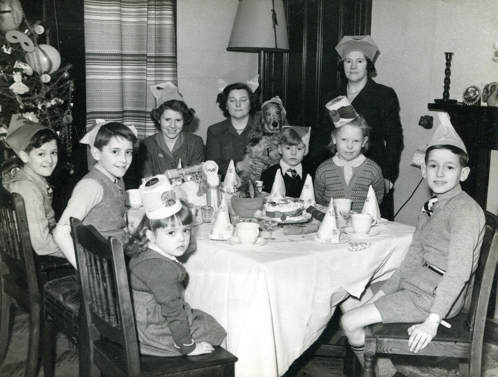 Family At Christmas Dinner Table c.1950