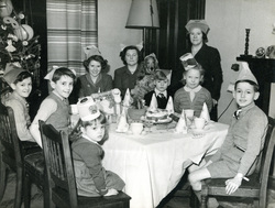 Family Gathered Around Christmas Dinner Table c.1950