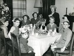 Family Gathered Around Christmas Dinner Table c.1950