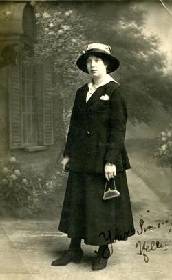 Studio Portrait Woman Holding Purse 1910s