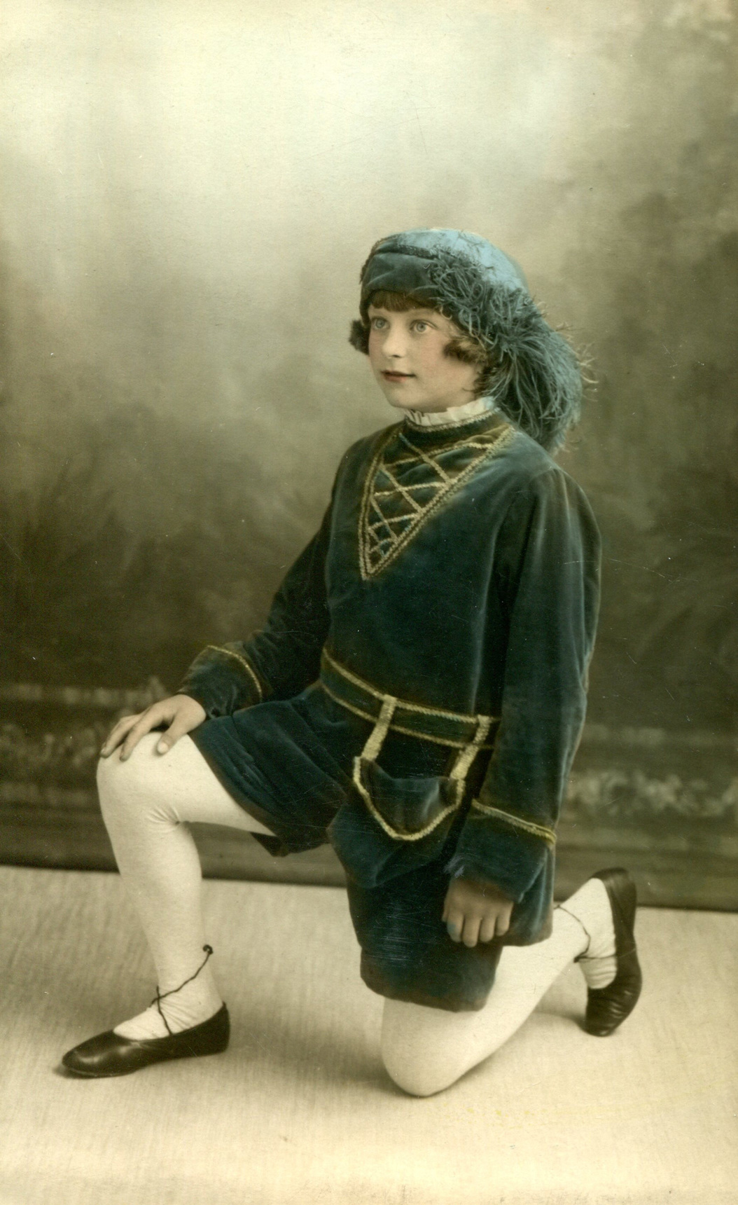 Studio Portrait Girl Kneeling In Page Costume c.1932
