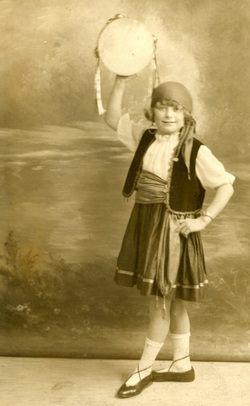 Studio Portrait Girl In Dancing Costume With Tambourine 1931