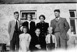 Shetland Family Standing Outside Of House c.1946