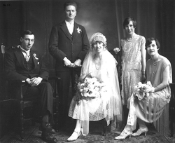 Wedding Portrait With Best Man And Bridesmaids, 5th January 1928