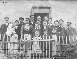Shetland Family Standing By Gate c.1906