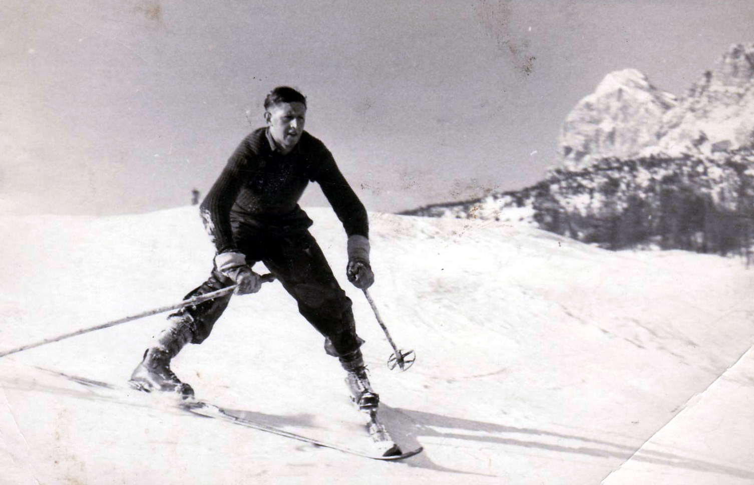 Man Skiing In The Mountains 1950s