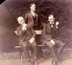 Three Gentlemen Sitting On Bench Outdoor 1920s