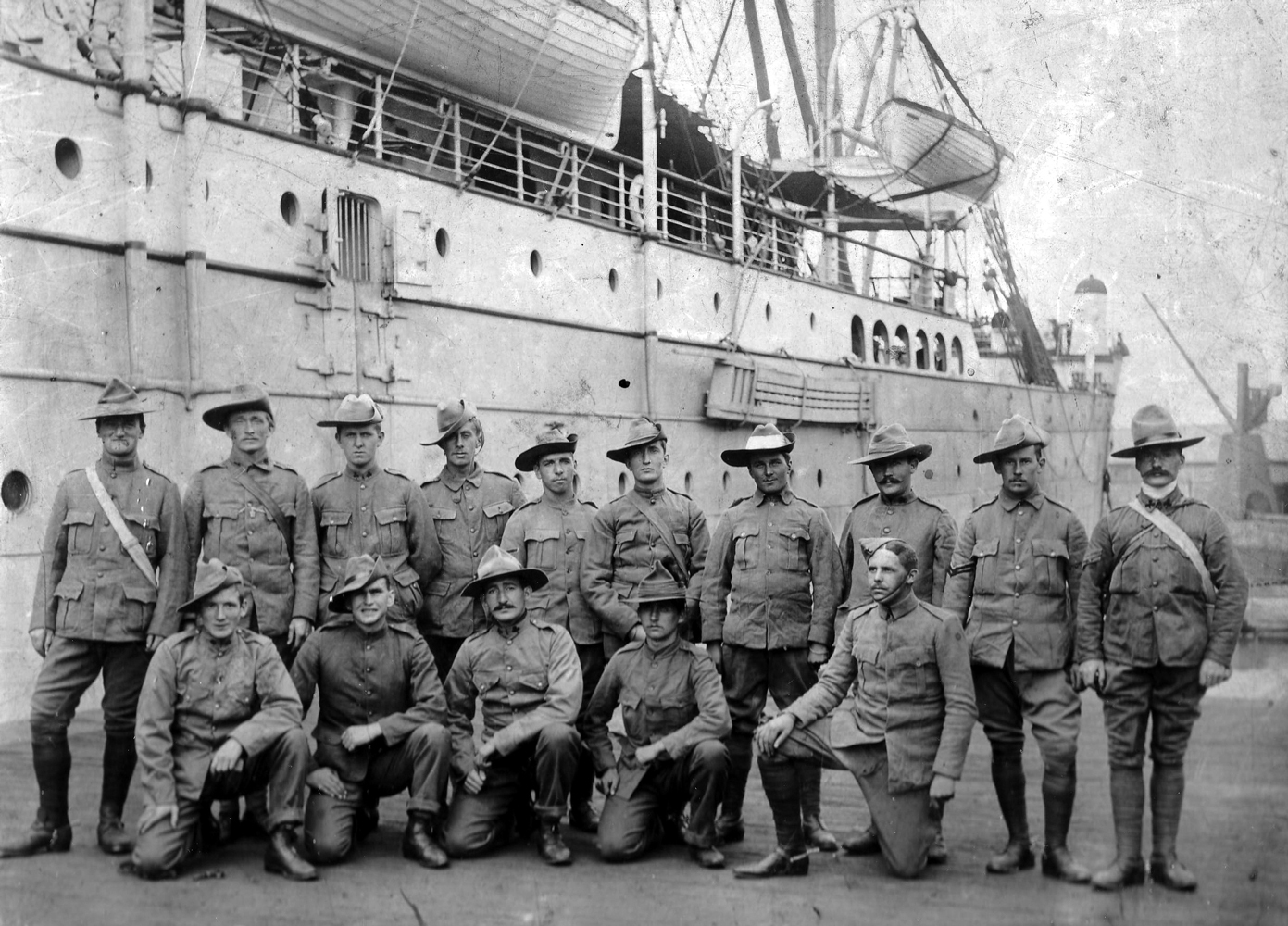 Squad Of ANZAC Soldiers On Pier c.1916