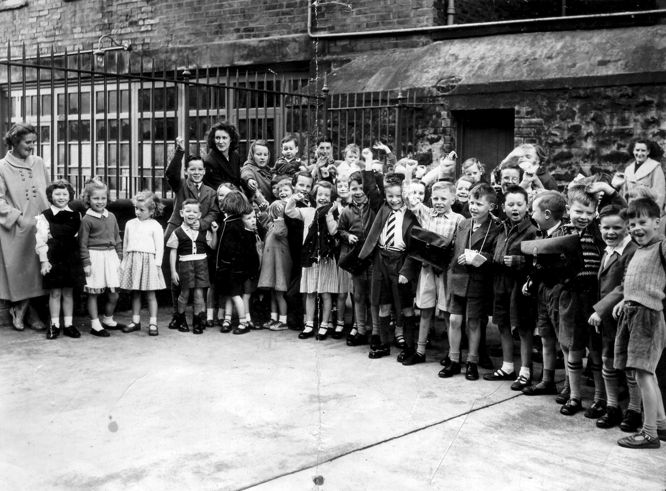 Group Of Children Lined Up In School Playground 1950s
