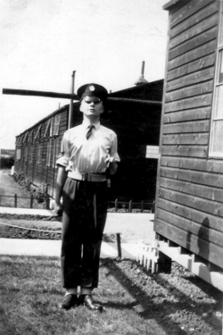 Corporal Standing To Attention Outside Barracks 1950s