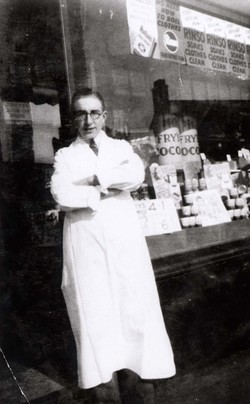 Grocer Standing Outside His Shop 1940s