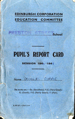 Preston Street School Pupil Report Card 1945