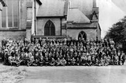 Large Gathering Unknown Occasion Outside Church 1940s