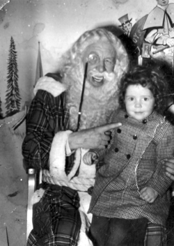 Eccentric Monocled Department Store Santa With Child 1950s