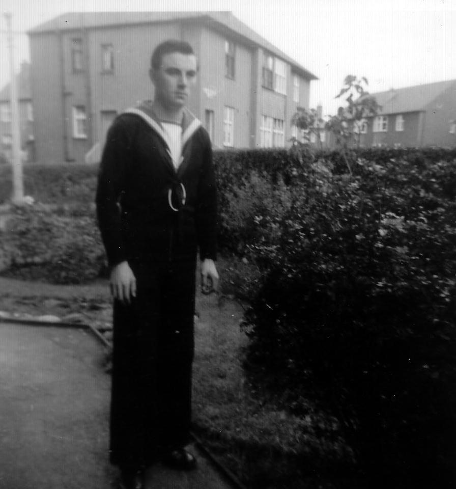 Sailor Of The Royal Navy Standing In Garden 1940s