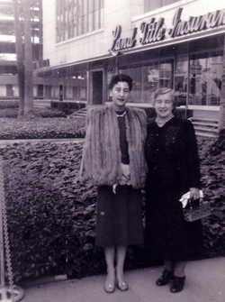 Two Women Standing Outside Land Title Insurance Offices 1950s