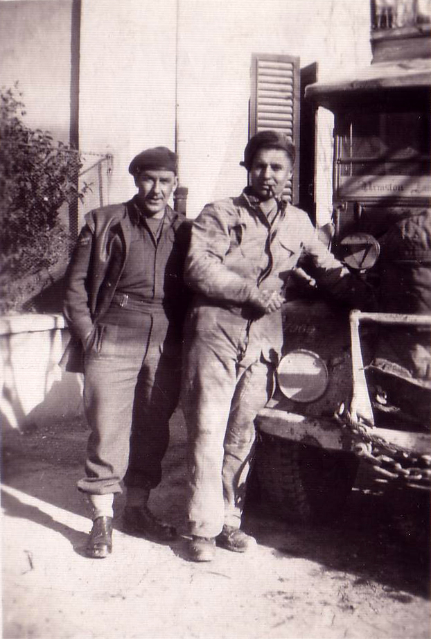 Two Men Standing By Bonnet Truck 1940s