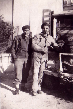 Two Men Standing By Bonnet Truck 1940s