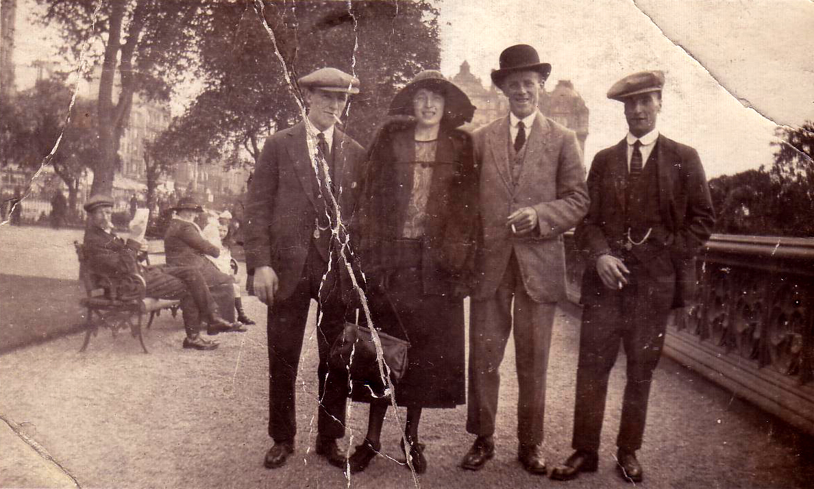 Three Men And A Lady Standing In East Princes Street Gardens 1920s