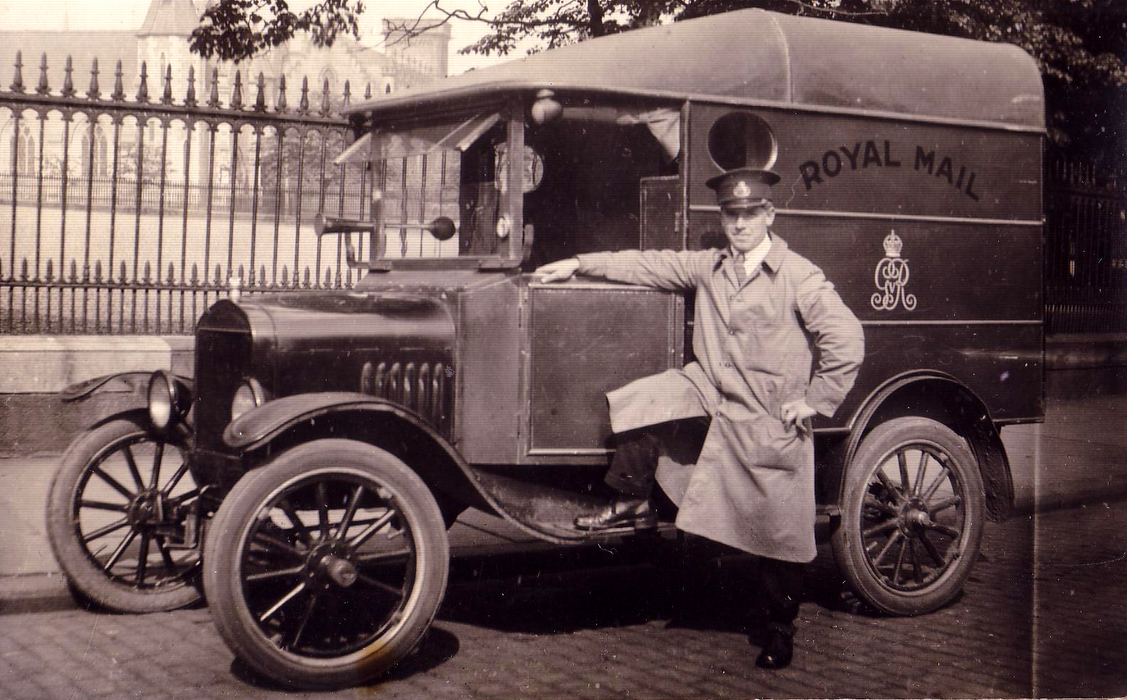 Royal Mail Van Driver Posing With Vehicle 1920s