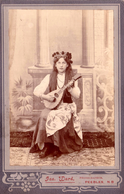 Studio Portrait Young Woman Playing Mandolin c.1900
