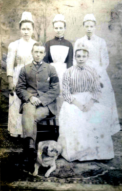 Group Of Servants With Pet Dog 1890s