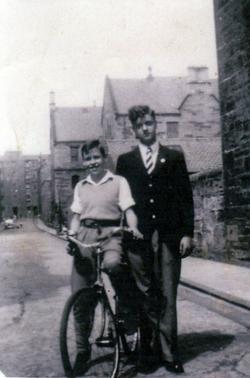 Schoolboy And Boy On Bike c.1950