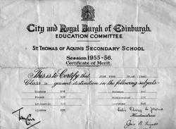 St Thomas Aquin's School Certificate Of Merit 1956