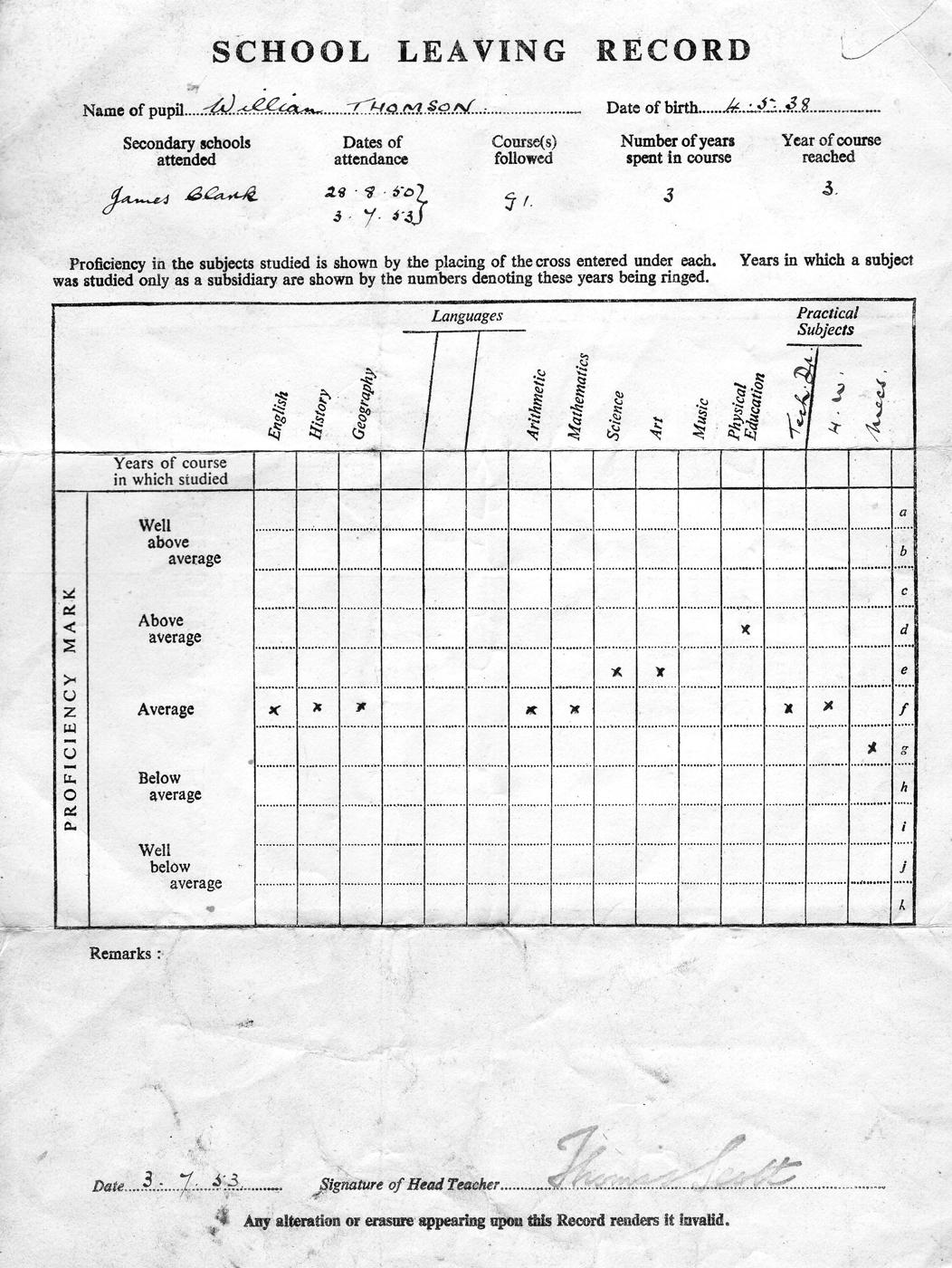 School Leaving Report 1953