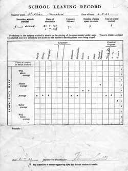 School Leaving Report 1953